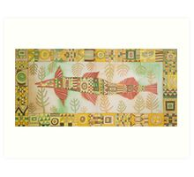 Decorative Fish with Backwash of Art-Deco Art Print