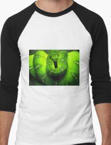 Wild nature - green snake Men's Baseball ¾ T-Shirt