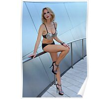 Blond girl in lingerie at LA cityscapes 1 Poster