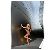 Blond girl in lingerie at LA cityscapes 2 Poster
