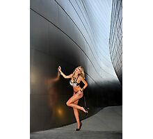Blond girl in lingerie at LA cityscapes 2 Photographic Print