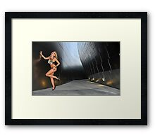 Blond girl in lingerie at LA cityscapes 3 Framed Print