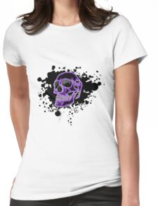 Purple Glow Skull Womens Fitted T-Shirt