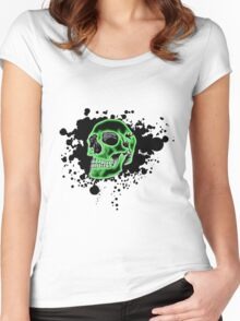 Green Skull Glow Women's Fitted Scoop T-Shirt