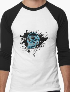 Blue Glow Skull Men's Baseball ¾ T-Shirt