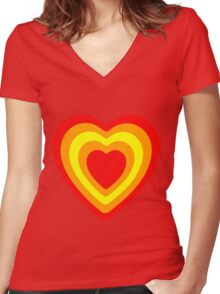 sunset hearts Women's Fitted V-Neck T-Shirt