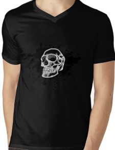 White Skull Glow Mens V-Neck T-Shirt