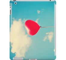 Love is in the air (Red Heart Balloon on a Retro Blue Sky) iPad Case/Skin