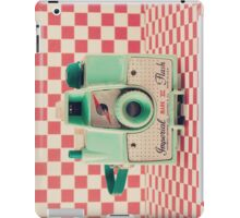 Mint Retro Camera on Red Chequered Background  iPad Case/Skin