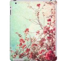 Pink Flowers on a Textured Blue Sky (Vintage Flower Photography) iPad Case/Skin