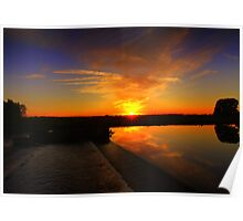 October Sunset over the River Tees Poster