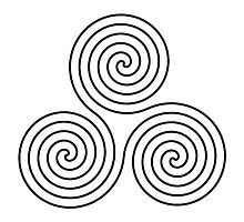 Triple Goddess symbol, Neolithic, triple, spiral, symbol, Neo, Pagan, BLACK on WHITE Photographic Print