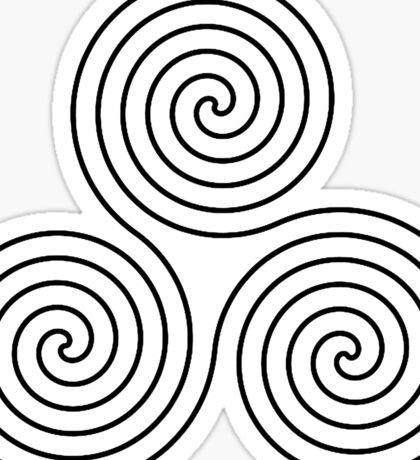 Triple Goddess symbol, Neolithic, triple, spiral, symbol, Neo, Pagan, BLACK on WHITE Sticker