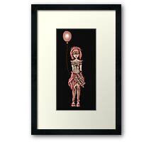Cute Punk Cartoon of Girl Holding Purple Balloon Framed Print