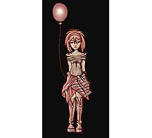 Cute Punk Cartoon of Girl Holding Purple Balloon Photographic Print