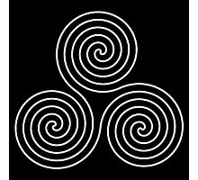 Neolithic, triple, spiral, symbol, Neo, Pagan, Triple Goddess symbol, WHITE on BLACK Photographic Print