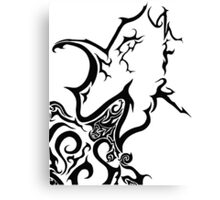 Tribal dragon ink drawing A4 black and white card fantasy art mythical beast illustration stylised fire breathing geek gift idea Canvas Print
