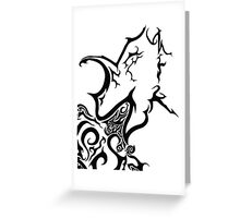 Tribal dragon ink drawing A4 black and white card fantasy art mythical beast illustration stylised fire breathing geek gift idea Greeting Card