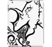 Tribal dragon ink drawing A4 black and white card fantasy art mythical beast illustration stylised fire breathing geek gift idea iPad Case/Skin