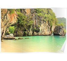 Karst Limestone Cliffs and Beach - Hong Islands, Thailand Poster