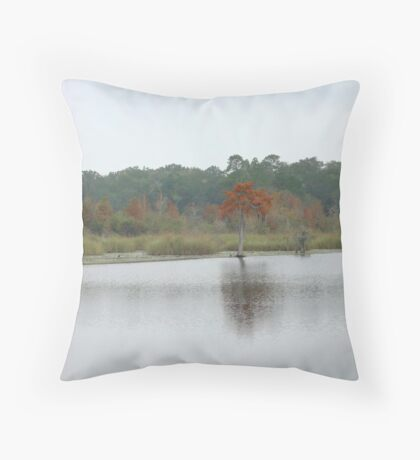 BEAR CREEK CYPRESS ON A GLOOMY DAY Throw Pillow