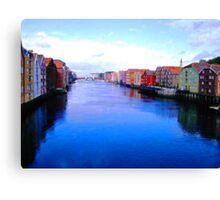 Trondheim Canal Canvas Print