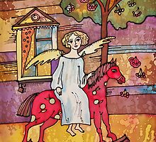 Autumn Angel on the Red Horse by DinaArt