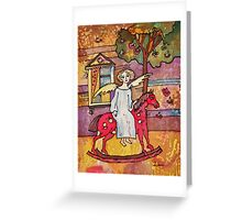 Autumn Angel on the Red Horse Greeting Card