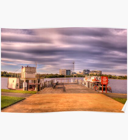 Lake Burley Griffin Paddle Steamer view of city  Poster