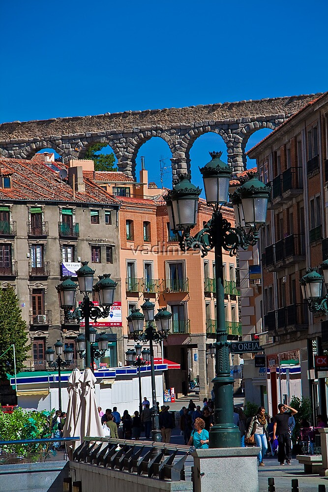 Spain. Segovia. Roman aqueduct over the town. by vadim19