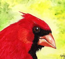 Red Cardinal Portrait by Kerry Cillo