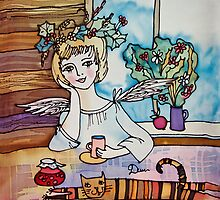 Summer Angel with Tabby Cat by DinaArt