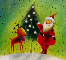 Santa and his Reindeer by Susan S. Kline
