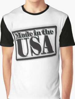 Made in the USA, Manufactured in American, America, USA, in Black Graphic T-Shirt