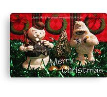 Christmas Snowman and Yeti Canvas Print