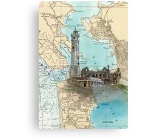 Alcatraz Island Lighthouse CA Map Cathy Peek Canvas Print