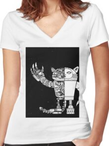 Robocat Rampage interior view 2 Women's Fitted V-Neck T-Shirt