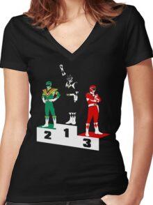 Black Ranger Power Women's Fitted V-Neck T-Shirt