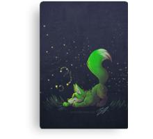 Firefly Fox - Green Canvas Print