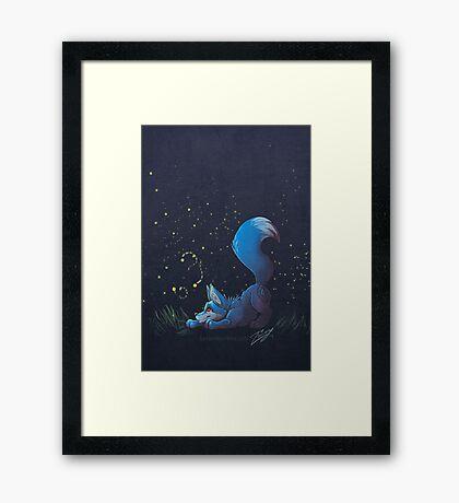Firefly Fox - Blue Framed Print