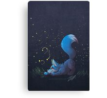 Firefly Fox - Blue Canvas Print
