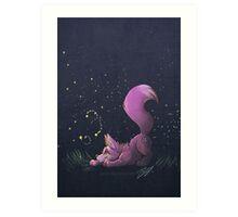 Firefly Fox - Pink Art Print