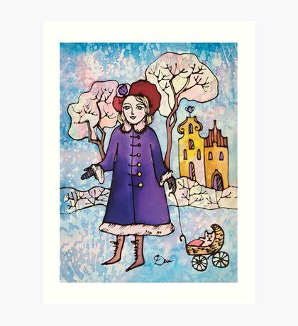 Winter Walk in Old Town Art Print