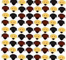Labrador black chocolate yellow  pattern by Verene Krydsby