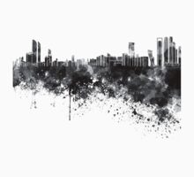 Abu Dhabi skyline in black watercolor One Piece - Long Sleeve