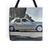 Holden HK Premier in Silver Fox with reverse cowling Tote Bag
