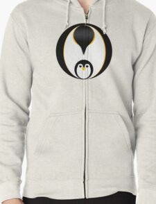 'In Pole Position' - Penguin T-Shirt Zipped Hoodie