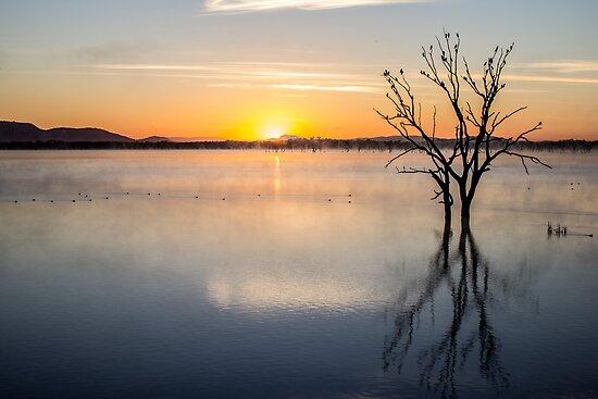 sunrise at lake fyans by ketut suwitra