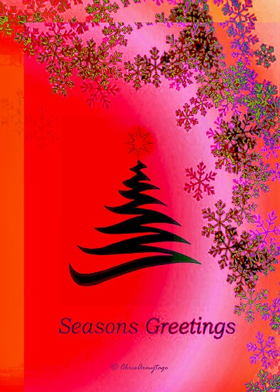 Seasons Greetings - Pink Red Orange Bright by ArmytageArts