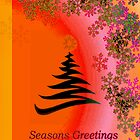 Seasons greetings -  Yellow Red Orange Bright by ArmytageArts